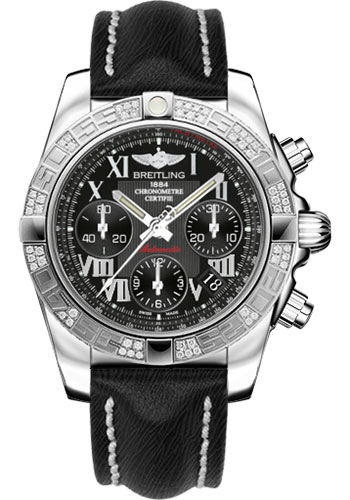 Breitling Watches - Chronomat 41 Steel Diamond Bezel - Sahara Leather Strap - Style No: AB0140AA/BC04-sahara-black-tang