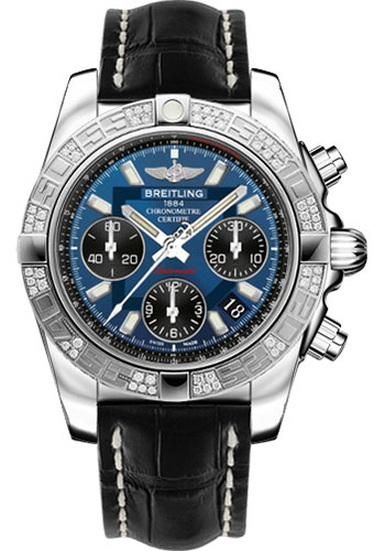 Breitling Watches - Chronomat 41 Steel Diamond Bezel - Croco Strap - Deployant - Style No: AB0140AA/C830-croco-black-folding