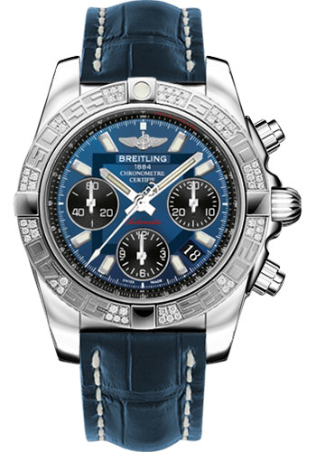 Breitling Watches - Chronomat 41 Steel Diamond Bezel - Croco Strap - Deployant - Style No: AB0140AA/C830-croco-blue-folding