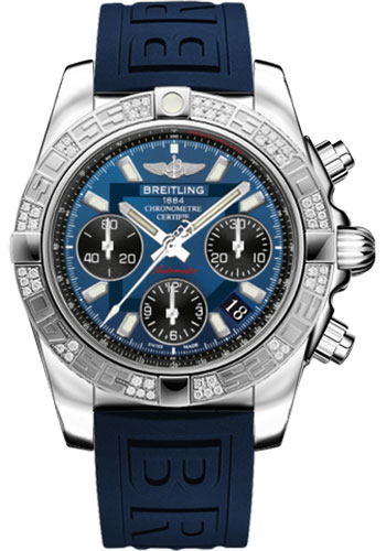 Breitling Watches - Chronomat 41 Steel Diamond Bezel - Diver Pro III Strap - Tang - Style No: AB0140AA/C830-diver-pro-iii-blue-tang