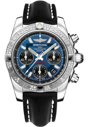 Breitling Watches - Chronomat 41 Steel Diamond Bezel - Leather Strap - Tang - Style No: AB0140AA/C830-leather-black-tang