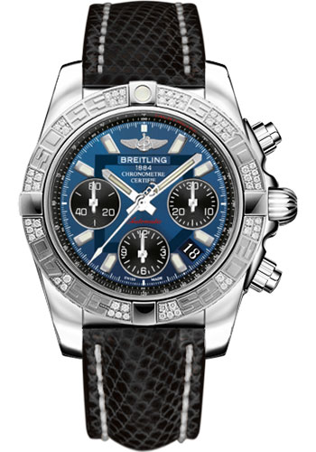 Breitling Watches - Chronomat 41 Steel Diamond Bezel - Lizard Strap - Deployant - Style No: AB0140AA/C830-lizard-black-deployant
