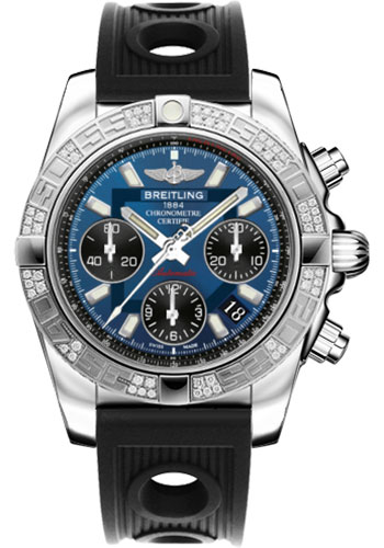 Breitling Watches - Chronomat 41 Steel Diamond Bezel - Ocean Racer Strap - Style No: AB0140AA/C830-ocean-racer-black-folding