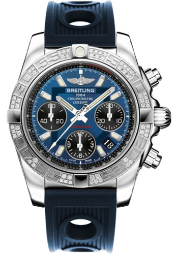 Breitling Watches - Chronomat 41 Steel Diamond Bezel - Ocean Racer Strap - Style No: AB0140AA/C830-ocean-racer-blue-folding