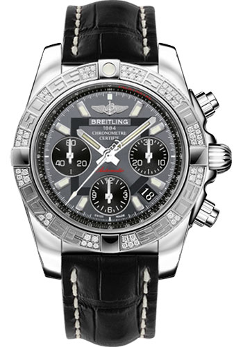 Breitling Watches - Chronomat 41 Steel Diamond Bezel - Croco Strap - Deployant - Style No: AB0140AA/F554-croco-black-folding