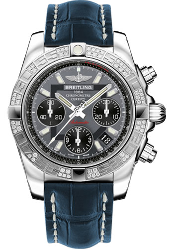 Breitling Watches - Chronomat 41 Steel Diamond Bezel - Croco Strap - Deployant - Style No: AB0140AA/F554-croco-blue-folding