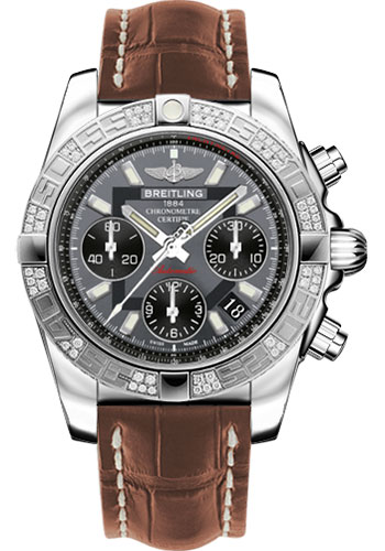 Breitling Watches - Chronomat 41 Steel Diamond Bezel - Croco Strap - Deployant - Style No: AB0140AA/F554-croco-gold-folding