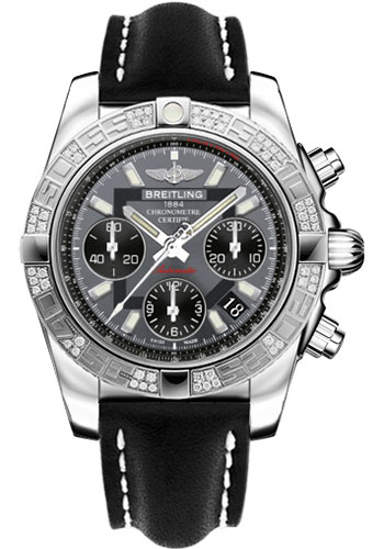 Breitling Watches - Chronomat 41 Steel Diamond Bezel - Leather Strap - Tang - Style No: AB0140AA/F554-leather-black-tang