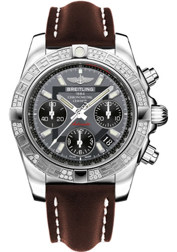 Breitling Watches - Chronomat 41 Steel Diamond Bezel - Leather Strap - Tang - Style No: AB0140AA/F554-leather-brown-tang
