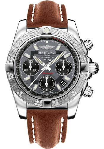 Breitling Watches - Chronomat 41 Steel Diamond Bezel - Leather Strap - Tang - Style No: AB0140AA/F554-leather-gold-tang