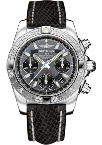 Breitling Watches - Chronomat 41 Steel Diamond Bezel - Lizard Strap - Tang - Style No: AB0140AA/F554-lizard-black-tang