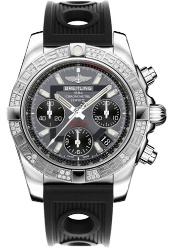 Breitling Watches - Chronomat 41 Steel Diamond Bezel - Ocean Racer Strap - Style No: AB0140AA/F554-ocean-racer-black-folding