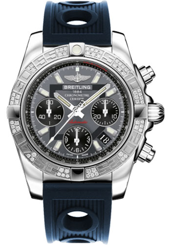 Breitling Watches - Chronomat 41 Steel Diamond Bezel - Ocean Racer Strap - Style No: AB0140AA/F554-ocean-racer-blue-folding
