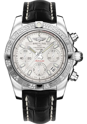 Breitling Watches - Chronomat 41 Steel Diamond Bezel - Croco Strap - Deployant - Style No: AB0140AA/G711-croco-black-folding