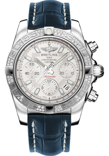 Breitling Watches - Chronomat 41 Steel Diamond Bezel - Croco Strap - Deployant - Style No: AB0140AA/G711-croco-blue-folding