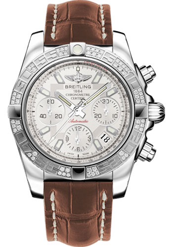 Breitling Watches - Chronomat 41 Steel Diamond Bezel - Croco Strap - Deployant - Style No: AB0140AA/G711-croco-gold-folding