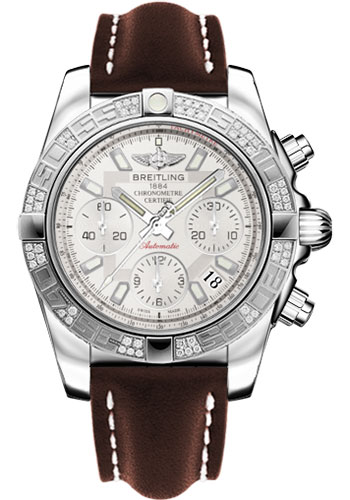 Breitling Watches - Chronomat 41 Steel Diamond Bezel - Leather Strap - Tang - Style No: AB0140AA/G711-leather-brown-tang