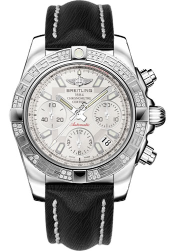 Breitling Watches - Chronomat 41 Steel Diamond Bezel - Sahara Leather Strap - Style No: AB0140AA/G711-sahara-black-tang
