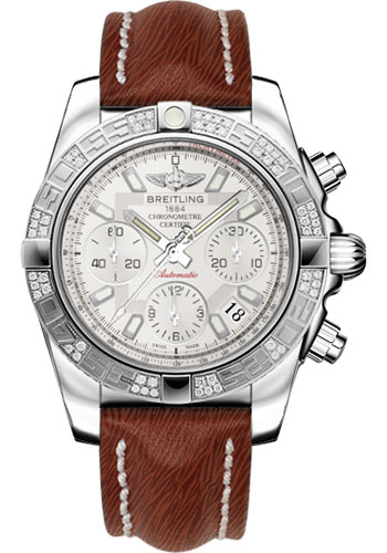 Breitling Watches - Chronomat 41 Steel Diamond Bezel - Sahara Leather Strap - Style No: AB0140AA/G711-sahara-brown-tang