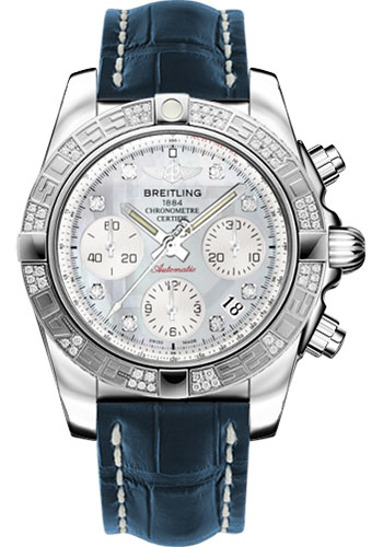 Breitling Watches - Chronomat 41 Steel Diamond Bezel - Croco Strap - Deployant - Style No: AB0140AA/G712-croco-blue-folding
