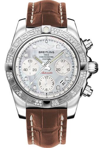 Breitling Watches - Chronomat 41 Steel Diamond Bezel - Croco Strap - Deployant - Style No: AB0140AA/G712-croco-gold-folding
