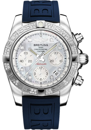 Breitling Watches - Chronomat 41 Steel Diamond Bezel - Diver Pro III Strap - Tang - Style No: AB0140AA/G712-diver-pro-iii-blue-tang