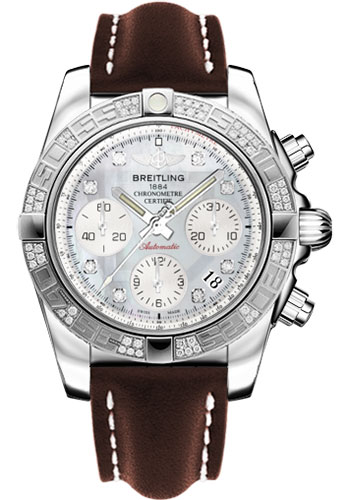 Breitling Watches - Chronomat 41 Steel Diamond Bezel - Leather Strap - Tang - Style No: AB0140AA/G712-leather-brown-tang