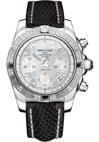 Breitling Watches - Chronomat 41 Steel Diamond Bezel - Lizard Strap - Deployant - Style No: AB0140AA/G712-lizard-black-deployant