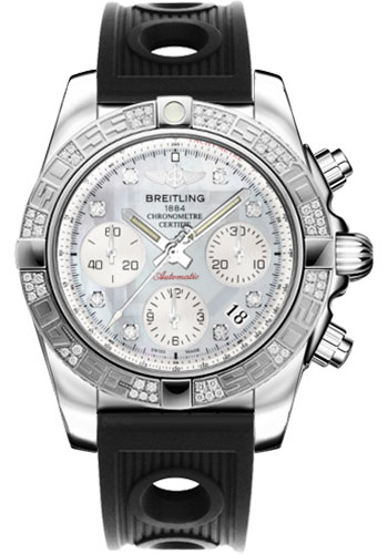Breitling Watches - Chronomat 41 Steel Diamond Bezel - Ocean Racer Strap - Style No: AB0140AA/G712-ocean-racer-black-folding