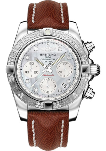 Breitling Watches - Chronomat 41 Steel Diamond Bezel - Sahara Leather Strap - Style No: AB0140AA/G712-sahara-brown-tang