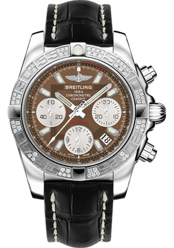 Breitling Watches - Chronomat 41 Steel Diamond Bezel - Croco Strap - Deployant - Style No: AB0140AA/Q583-croco-black-folding