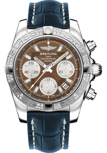 Breitling Watches - Chronomat 41 Steel Diamond Bezel - Croco Strap - Deployant - Style No: AB0140AA/Q583-croco-blue-folding