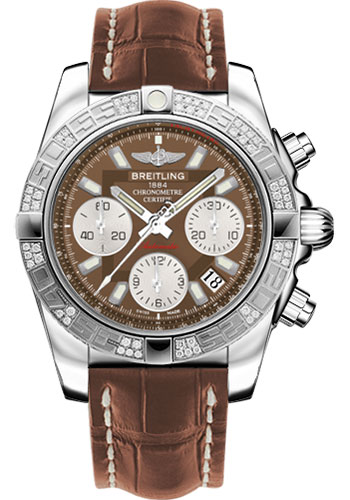 Breitling Watches - Chronomat 41 Steel Diamond Bezel - Croco Strap - Deployant - Style No: AB0140AA/Q583-croco-gold-folding