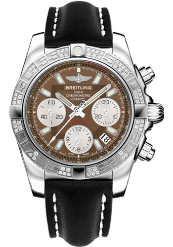 Breitling Watches - Chronomat 41 Steel Diamond Bezel - Leather Strap - Tang - Style No: AB0140AA/Q583-leather-black-tang