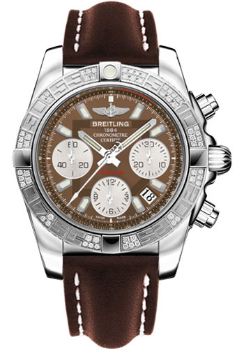 Breitling Watches - Chronomat 41 Steel Diamond Bezel - Leather Strap - Tang - Style No: AB0140AA/Q583-leather-brown-tang