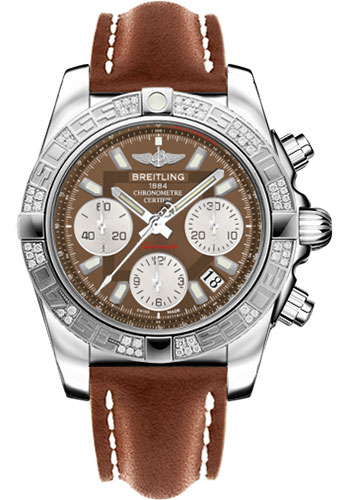 Breitling Watches - Chronomat 41 Steel Diamond Bezel - Leather Strap - Tang - Style No: AB0140AA/Q583-leather-gold-tang