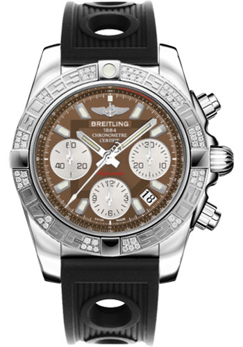 Breitling Watches - Chronomat 41 Steel Diamond Bezel - Ocean Racer Strap - Style No: AB0140AA/Q583-ocean-racer-black-folding