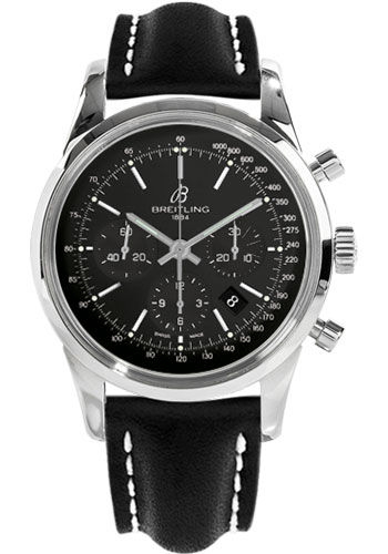 Breitling Watches - Transocean Chronograph Stainless Steel - Leather Strap - Tang - Style No: AB015212/BA99-leather-black-tang