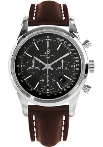 Breitling Watches - Transocean Chronograph Stainless Steel - Leather Strap - Tang - Style No: AB015212/BA99-leather-brown-tang