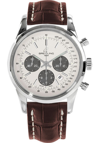 Breitling Watches - Transocean Chronograph Stainless Steel - Croco Strap - Deployant - Style No: AB015212/G724-croco-brown-folding