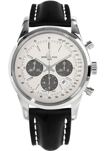 Breitling Watches - Transocean Chronograph Stainless Steel - Leather Strap - Tang - Style No: AB015212/G724-leather-black-tang