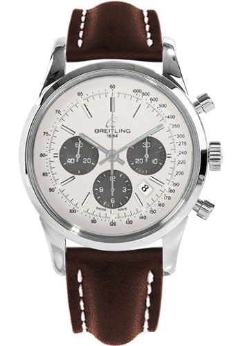Breitling Watches - Transocean Chronograph Stainless Steel - Leather Strap - Tang - Style No: AB015212/G724-leather-brown-tang