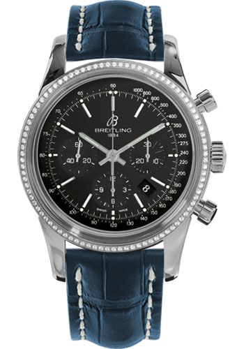 Breitling Watches - Transocean Chronograph Steel - Dia Bezel - Croco Strap - Tang - Style No: AB015253/BA99-croco-blue-tang