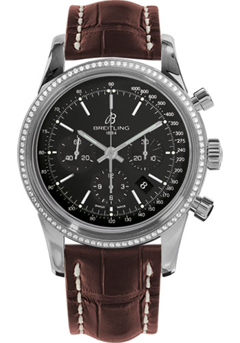 Breitling Watches - Transocean Chronograph Steel - Dia Bezel - Croco Strap - Tang - Style No: AB015253/BA99-croco-brown-tang