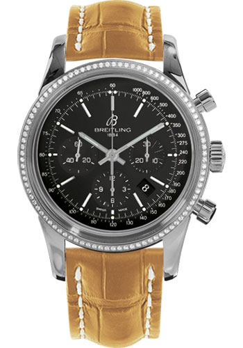 Breitling Watches - Transocean Chronograph Steel - Dia Bezel - Croco Strap - Tang - Style No: AB015253/BA99-croco-camel-tang