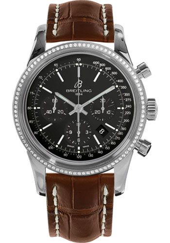 Breitling Watches - Transocean Chronograph Steel - Dia Bezel - Croco Strap - Tang - Style No: AB015253/BA99-croco-gold-tang