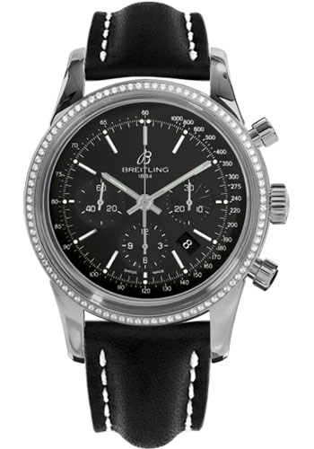 Breitling Watches - Transocean Chronograph Steel - Dia Bezel - Leather Strap - Tang - Style No: AB015253/BA99-leather-black-tang