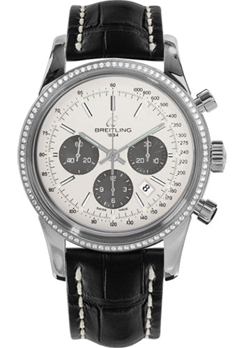 Breitling Watches - Transocean Chronograph Steel - Dia Bezel - Croco Strap - Tang - Style No: AB015253/G724-croco-black-tang