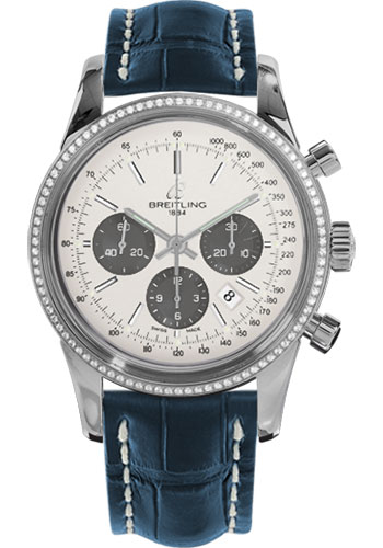 Breitling Watches - Transocean Chronograph Steel - Dia Bezel - Croco Strap - Deployant - Style No: AB015253/G724-croco-blue-deployant