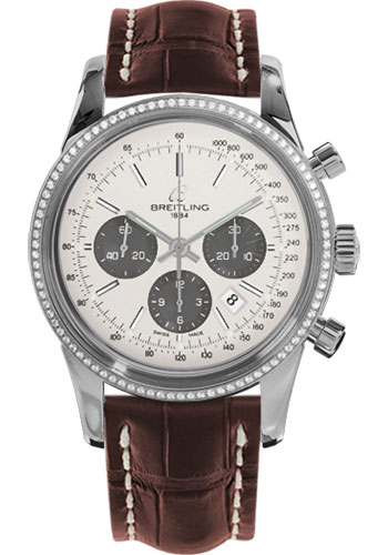 Breitling Watches - Transocean Chronograph Steel - Dia Bezel - Croco Strap - Tang - Style No: AB015253/G724-croco-brown-tang